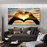 wZUN Lienzo Artista de la Pared decoración del hogar Puesta de Sol Mano Amor Paisaje mar Vista Lienzo Pintura Sala de Estar Imagen de impresión decoración del hogar 60x120 Sin Marco
