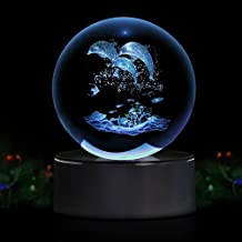 Dolphin 3D Crystal Ball LED Night Light with Base, Clear 80mm (3.15 inch) Dolphin Crystal Ball,Advanced Laser Engraving, Ideal Present for Kids, Friends, Perfect for Home, Offices etc