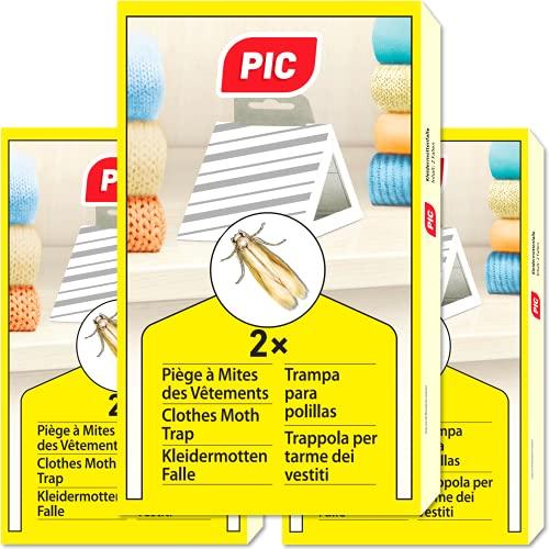 PIC Trappola ai feromoni Anti tarme Vestiti Confezione da 3 = 6 Pezzi - Prodotto Anti tarme Vestiti, Adatto Come antitarme per Vestiti e antitarme per armadi