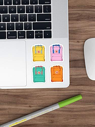 Vier Pack Roze, Oranje, Geel En Groen Rugzak Fjallraven Kanken Sticker Vinyl Decal Voor Auto's, Vrachtwagens, Waterfles, Koelkast, Laptops (Longest Side 3