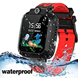 Kids Smart Watch Waterproof with GPS Tracker Phone Smartwatch SOS Game Voice Chat 1.44'' Touch Screen for Boys Girls Birthday Gift (Red)