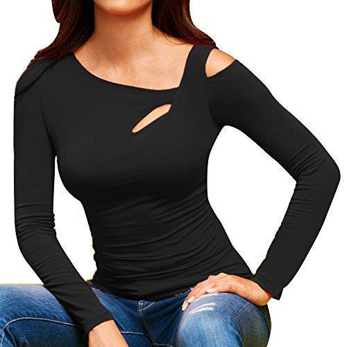 MEIbax Casual Camiseta para Mujer Suelto Sudadera Primavera Tops Jersey Mujer Casual Cold Shoulder Tops Manga Larga Camiseta Blusa