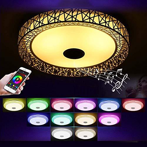 WFL-belysning LED-taklampa med Bluetooth-högtalare, RGB färgändrande infälld montering musik taklamparmatur, 36 W, 85-265 V, dimbara infällda lampor för familjefest stjärnlampor WFL Profe