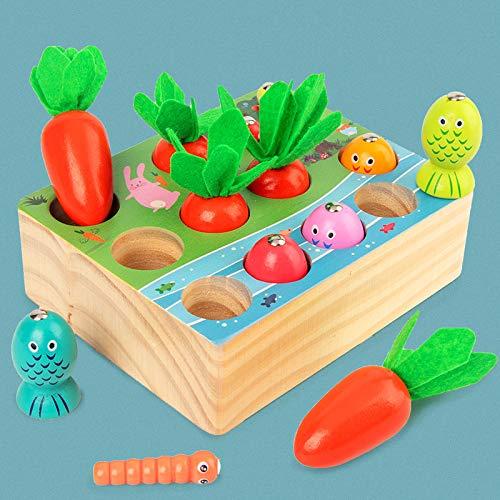 X-LIVE Juego de pesca 3 en 1, juguete de madera, juguete de motricidad Montessori, zanahoria, juguete infantil con pesca, pinzas, juguete educativo regalo para niños pequeños a partir de 3 años