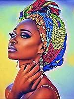 キャンバス上の数字でアフリカの女性のDIYペイントDIYの手工芸品大人のぬりえアクリルペイントアフリカの女の子 40×50cm