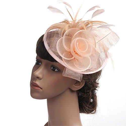 Heqianqian Chapeau Fascinant Chapeau de Jour pour Femme Maille Cheveux Fascinator Bandeau Mariage Royal Ascot Race Pince à Cheveux de Mariée (Color : Pink)
