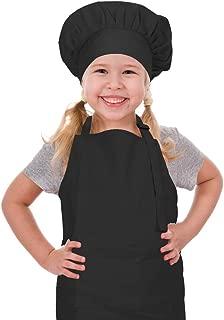 CRJHNS Kids Apron and Chef Hat Set, Adjustable Cotton Child Apron with Large Pocket Black Boys Girls Bib Apron for Cooking Painting Baking (Large, Black)