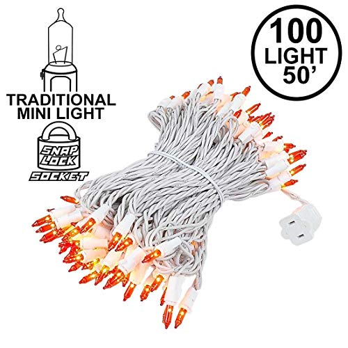 Novelty Lights 100 Light Orange Christmas Mini Light Set, White Wire, 50' Long