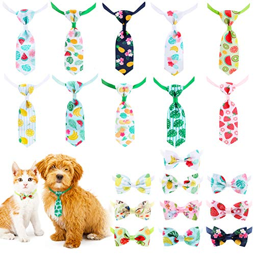 20 Pieces Pet Tie Set Includes 10 Pieces Pet Neckties and 10 Pieces Pet Bow Ties with Adjustable Collar in Hawaii Style for Dogs Cats Summer Day Wearing