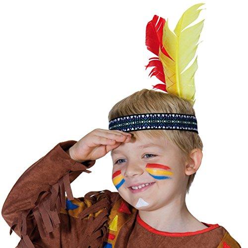 NET TOYS Indianer Stirnband für Kinder Feder Indianerschmuck Federkopfschmuck Indianischer Federschmuck