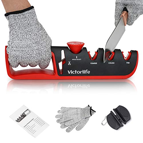 Knife Sharpener Kitchen - [Premium] 4 Stage Blade Sharpening Tool Helps Restore, Renew, Polish Straight for Knives and Scissors - a Pair of Cut-Resistant Glove + Mini Sharpener + Detailed Instructions