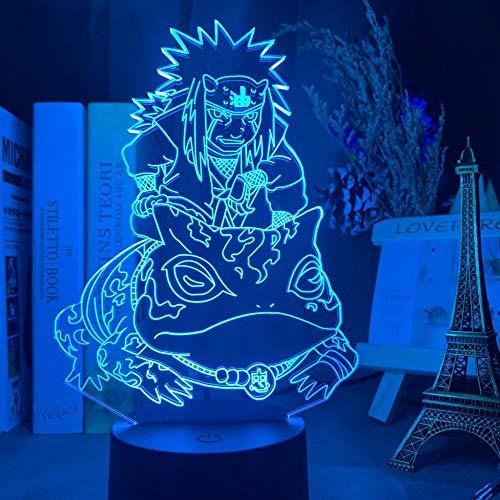 3D noche luz japonesa manga LED 3D noche luz jiraiya figura regalo de Navidad para niños dormitorio decoración mesa 3D lámpara mesita de noche ASQWZX
