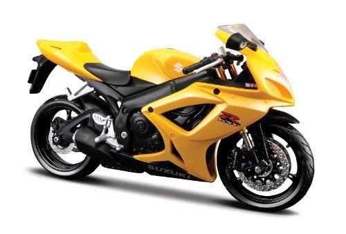 Maisto Suzuki GSX R600: Originalgetreues Motorradmodell im Maßstab 1:12 mit Federung und ausklappbarem Seitenständer, 17 cm, gelb (531152)