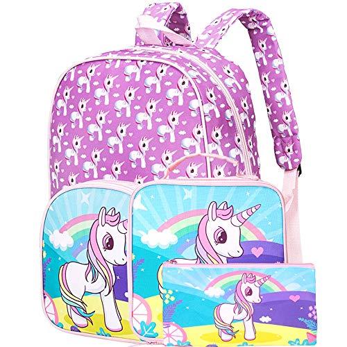 3PCS Preschool Backpack Girls, 15' Unicorn Backpacks and Lunch Box