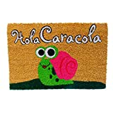 KOOK TIME Koko Doormats Felpudo para Entrada de Casa Original, Modelo Hola Caracola, Fibra de Coco y...
