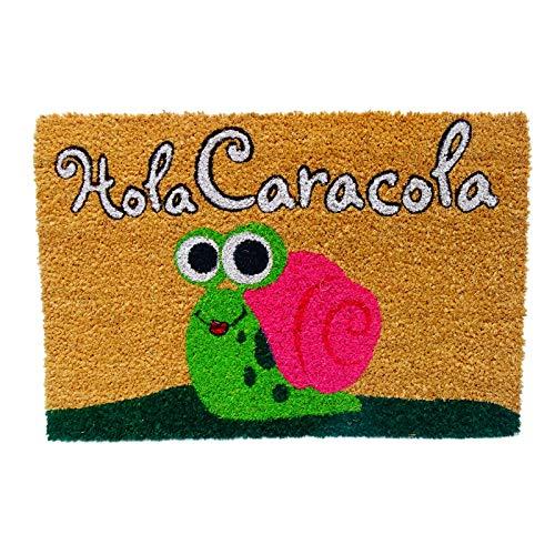 KOOK TIME Koko Doormats Felpudo para Entrada de Casa Original, Modelo Hola Caracola, Fibra de Coco y PVC, 40x60cm