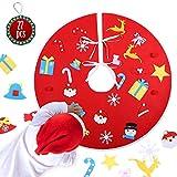 KATELUO 89CM Falda del Árbol de Navidad, Christmas Tree Skirt, Base de Árbol de Navidad, Decoración de Navidad, Cubierta de Base Arbol para Navidad Fiesta Al Aire Libre Decoraciones (Rojo)
