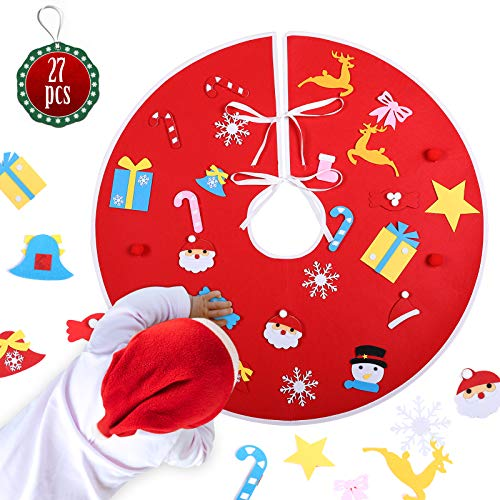 KATELUO Runde Filz-Baumdecke, 89cm Weihnachtsbaumdecke, Christbaumdecke, Weihnachtsbaum Decke mit 26 Weihnachtsdekorationen, Weihnachtsbaum Rock für Weihnachtsdeko Party (rot)