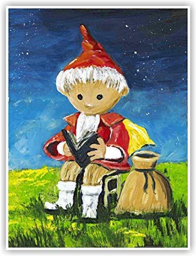 Sandmann - liebevoll gestalteter Kunstdruck von einem Original Acrybild von Silke Ludewig - Dresden - Sandmann Bild - Kinderbild