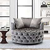 Fonzci Modern Barrel Chair Akili Swivel Accent Chair, Velvet Swivel Leisure Chair Round Accent Sofa Chairs with Arms and 3 Pillows for Living Room Bedroom (Silver Grey)