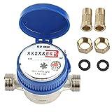 AYNEFY Contador de agua QN 1,5, agua fría, flujo de 1/2 pulgadas, conexión de 3/4 pulgadas, para jardín, hogar, resistente a las heladas y protección UV