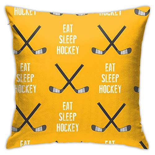 87569dwdsdwd Eat Sleep Hockey Cross Sticks Custom Square Pillow Case Home Sofa Decorative 18' X 18'Inch Ultra Soft Comfortable