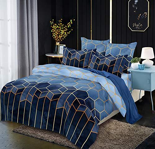 Luofanfei Gestreifte Bettwäsche 155x220cm Marineblau Blau Streifen Bettwäsche Set 155 X 220 cm+80×80 cm Microfaser Bettdeckenbezug 3 TLG Bettbezug Doppelbett Set mit Reißverschluss