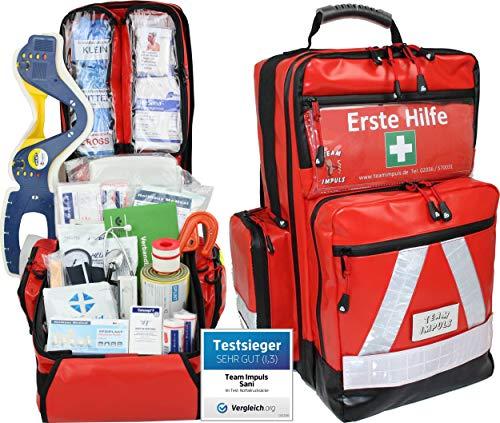 Team Impuls NFA Erste Hilfe Notfallrucksack Betriebssanitäter mit manuellem Blutdruckmessgerät & Stethoskop aus Plane mit Waterstop