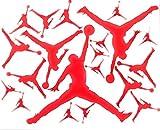 20 Assorted Red Air Jordan - Jumpman Vinyl Stickers + Bonus Nike Swoosh Stickers Logo Vinyl Decal Label Birthday Party Baby Shower Ideas iPhone & More Logo