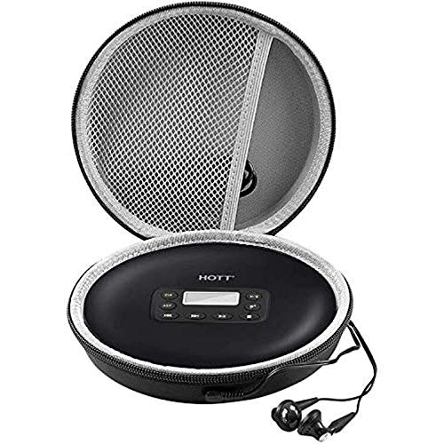 Portable CD Player Case Compatible with GPX PC332B丨 PC807B丨 NAVISKAUTO丨Gueray丨HOTT丨Monodeal丨Jensen Personal Compact Disc Player, Travel Carrying Stoarge Holder for Earphone and USB Cable - Black