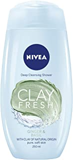 NIVEA Clay Fresh Body Wash and Shower Gel, Fresh Hibiscus and White Sage Scent with Kaolin Clay, 250 ml