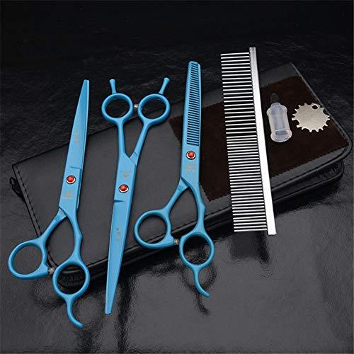 Set de cizallas de preparación para Mascotas 3 - Tijeras de Pelo de Acero Inoxidable Inoxidable de 7,0 Pulgadas Cizallas y cizallamiento Recto y Kit de cizallamiento y Peine curvados,Azul