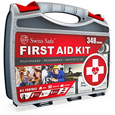 2-in-1 First Aid Kit (348-Piece) 'Double-Sided Hardcase' + Bonus 32-Piece Mini Kit: Perfect for Home & Workplace Safety [50 Person Kit]