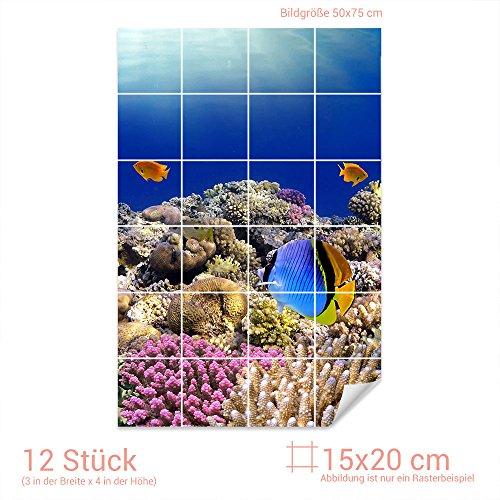 GRAZDesign Fliesenaufkleber Fische/Korallen für Kacheln Bad-Fliesen mit Fliesenbildern überkleben (Fliesenmaß: 15x20cm (BxH)//Bild: 50x75cm (BxH))