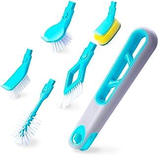 キッチン、浴室のクリーニングセット 長いハンドル プラスチックスポンジ マルチヘッドブラシ ボトルクリーニング 回転ブラシ