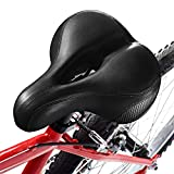 Xmifer Most Comfortable Bicycle Seat, Bike Seat Replacement with Dual Shock Absorbing Ball Wide Bike Seat Memory Foam Bicycle Gel Seat with Mounting Wrench (Black)