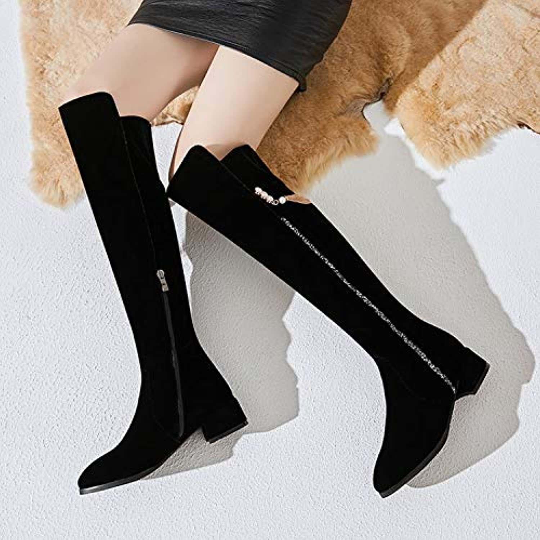 Shukun Stiefeletten Damen Winter dick mit Langen Stiefeln Herbst Lange Stiefel über die Kniestiefel