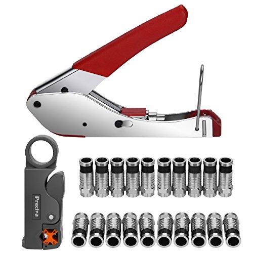 Kompressionszange Set, Preciva Crimpzange Abisolierwerkzeug RG59/RG6 mit 20 stück Kompressions-F-Stecker für SAT Kabel, Koaxialkabel