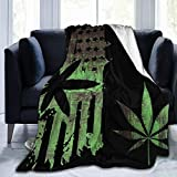 Extra Soft Throw Blankets for Kids Adults Marijuana Weed Painting American USA Flag Black Sherpa Flannel Fleece Sleeping Blankets Wearable Throw Queen Size Blanket for Bed Couch Sofa Chair Dorm