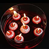 AQWEI Halloween Eyeball Floating Candles, Scary Hollow Eyeball, Trick or Treat Prank Toys, Realistic Eyeball Floats on Water Table Candles Decor, Halloween Horror Props Party Decoration(10pcs)
