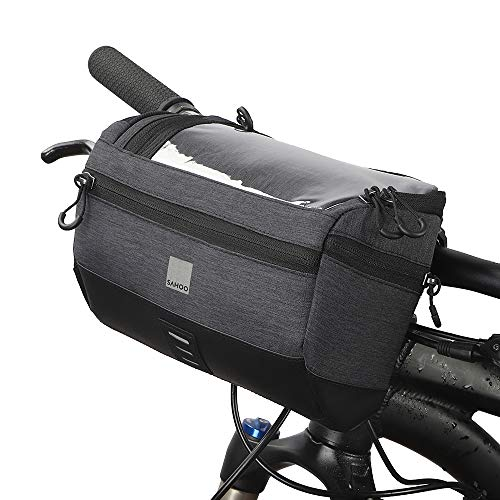 Lixada Fahrrad Lenkertasche Multifunktionale 5L Kapazität Fahrradtaschen Lenkerhalterung Fahrradtasche Reitrucksack (Schwarzer Typ2)