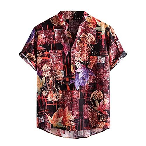 Camisa para hombre de manga corta, informal, con estampado de acuarela, de manga corta, para verano, ajustada, con botones impresos, para verano, informal, de talla corta D_rojo. XL