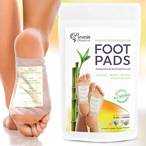 Prescia Foot Pads (40) Stress Relief, Sleep Aid, Cleansing All Natural Organic Bamboo Vinegar with Ginger Orange Lavender Mugwort, Quality Adhesive Sheet Patch