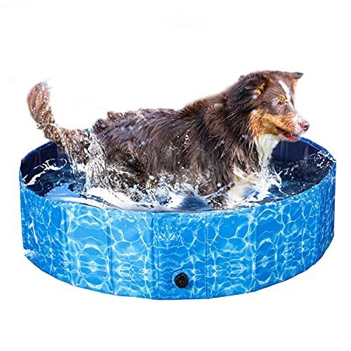 XIAPIA Hundepool für Große Hunde 160/120/80 cm mit 30/20cm Tiefe | Faltbar Hundeplanschbecken für Haustier im Sommer | Rutschefest Boden und Robust Holzfaserplatte (L(120 * 30 cm))