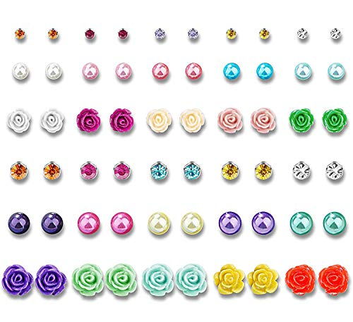 Finrezio 30Pairs Stainless Steel Stud Earrings Cute Assorted Flower Round Ball CZ Earrings Set for Girl
