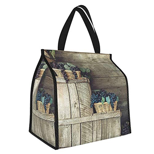 Grapes Home Decor Various In Wooden Wicker Basket Ivy Viniculture Gourmet Organic Photo Es Brown Purple Large Insulated Cooler Bag Picnic Freezer Bag 30l, Freezer Bagpicnic Camping Beach Tour Bbq