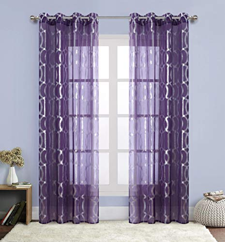 Morocan Tile Print Curtains for Living Room - Silver Lattice Window Treatment for Nursery / Kids Room Grommet Top Thin and Soft 54 inch Wide by 84 inch Long Purple 1 Pair