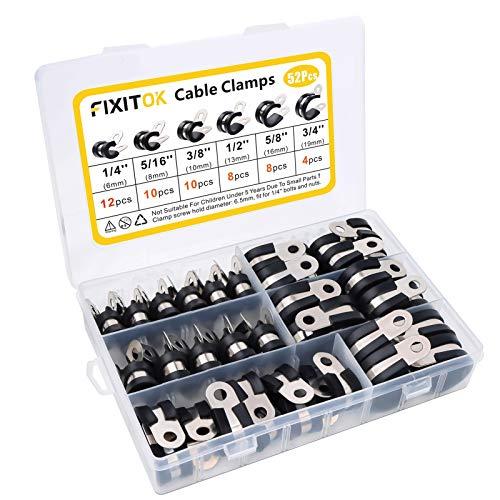 FIXITOK 52pcs abrazaderas de goma P Clips abrazadera de cable de acero...