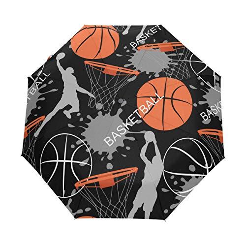 WowPrint Paraguas compacto resistente al viento, para jugador deportivo, baloncesto, portátil, ligero, para viajes para fácil transporte.