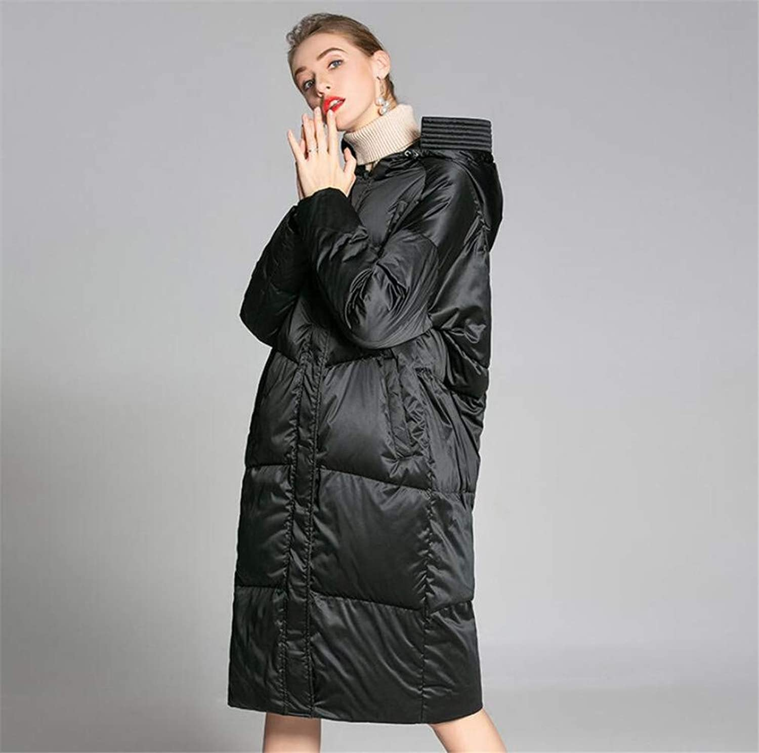 Women Down Coat Down, Black Simple Long Section Cold Predection White Duck Down Padding Down Jacket